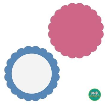 Clipart-Digital Frame Set- Pastel Scalloped Frames