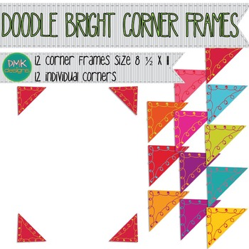 Digital Frames- Bright Doodle Corners