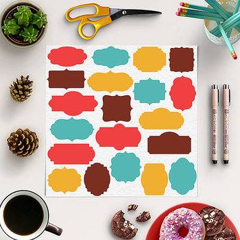 Digital Frames Clipart - Red, Yellow, Turquoise Tags