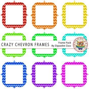 Digital Frames - Crazy Chevron Frames - 9 Frames