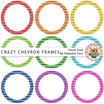 Dollar Deal Digital Frames Crazy Chevron Glitter Circle Frames 9