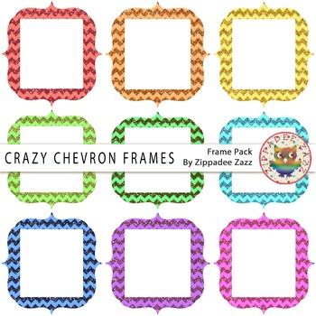 Digital Frames - Crazy Chevron Glitter Frames - 9 Frames