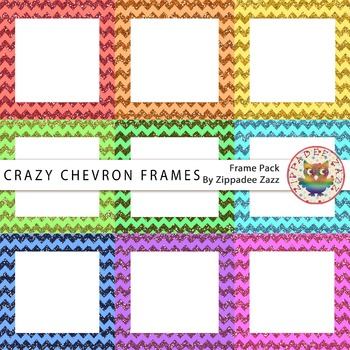Digital Frames Crazy Chevron Glitter Square Frames 9 Frames By