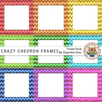 Digital Frames - Crazy Chevron Glitter Square Frames - 9 Frames