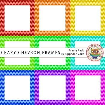 Digital Frames - Crazy Chevron Square Frames - 9 Frames