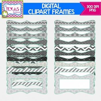 Digital Frames - Grey and Mint Digital Frames {COMMERCIAL USE}