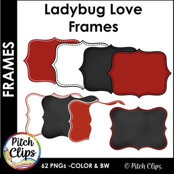 Digital Frames: Ladybug Love - 62 Frames in Red, Chalk, Black, and White