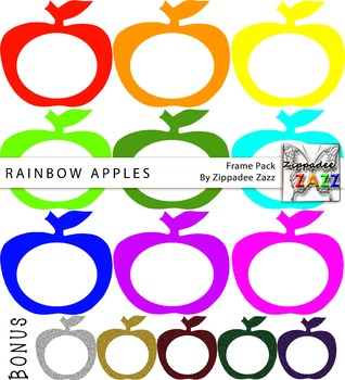 Rainbow and Glitter Apple Frames and Borders for Product Covers