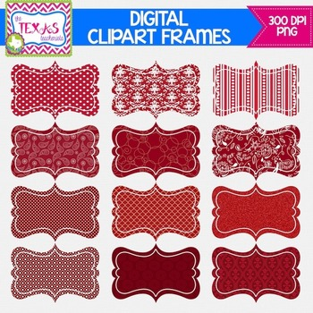 Digital Frames - Shades of Red Digital Frames {COMMERCIAL USE}