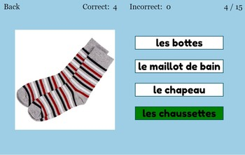 Digital French Clothing Flashcards and Quizzes