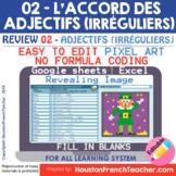 Digital French Pixel Art - French Irregular Adjectives Agr