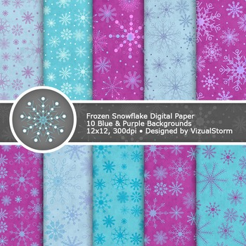 Digital Frozen Snowflake Papers - Printable Blue and Purple Background Images