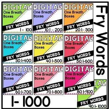 Digital Fry Words 1-1000 One Breath Boxes BUNDLE