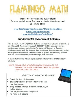 Digital Fundamental Theorem of Calculus Activity-Google Edition