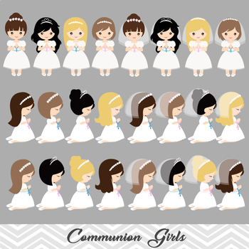 Digital Girl First Communion Clip Art, Girl First Communion Clipart, 00189