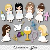 Digital Girl First Communion Clip Art, Girl First Communion Clipart, 00189