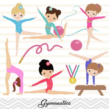 Digital Girls Gymnastics Clip Art Gymnastic Girl Clip Art Gymnast Girl, 00192