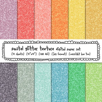 Digital Glitter Texture Digital Paper, Pastel Digital Glitter Backgrounds