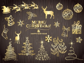 Digital Gold Christmas Clip Art Christmas Tree Snowflake Reindeer Ornament 0019