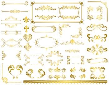 Digital Gold Flourish Swirl Frame Border Clip Art Vintage Golden Swirl Frame