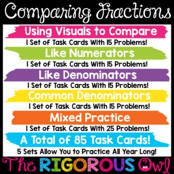 Digital Google Forms Comparing Fractions Task Cards