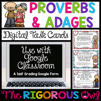 Digital Google Forms Proverbs and Adages Task Cards