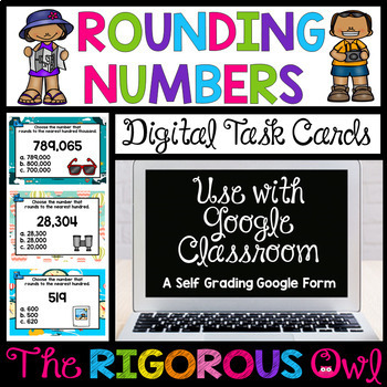 Digital Google Forms Rounding Task Cards