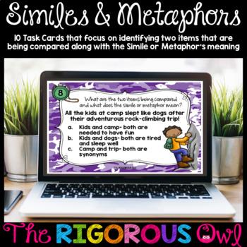 Digital Google Forms Similes and Metaphors Task Cards