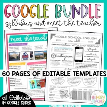 Digital Google Syllabus and Meet the Teacher Templates