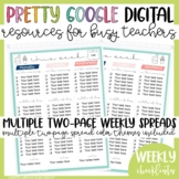 Digital Google Weekly 2-Page Checklists Pretty Paper for Busy Teachers