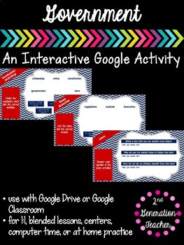 Digital Government Google Drive or Google Classroom Activity