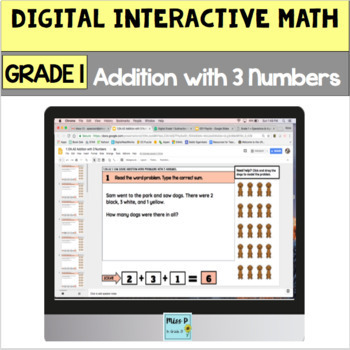 Digital Grade 1 Addition Word Problems with 3 Numbers