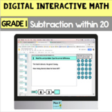 Digital Grade 1 Subtraction Word Problems within 20