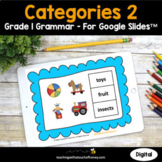 Digital Grammar Activities Google Slides - Categories 2 Grade 1