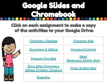 Digital Graphic Organizers for Tacky the Penguin with BONUS HyperDoc