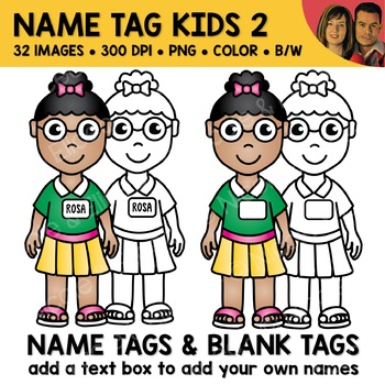 School Clipart - Name Tag Kids 2