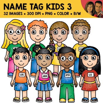 School Clipart - Name Tag Kids 3