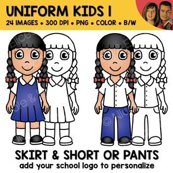 School Clipart - Uniform Kids 1