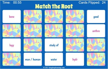 Greek and Latin Roots Interactive Memory Game