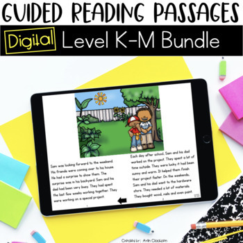 Digital Guided Reading Passages Bundle: Level K-M {For the Paperless Classroom}
