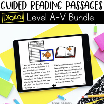 Digital Guided Reading Passages Bundle: Level A-V {Paperless Classroom}