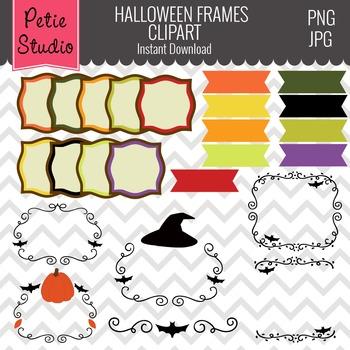 Digital Halloween Frames // Halloween Clipart // Digital Ribbons - Fall115