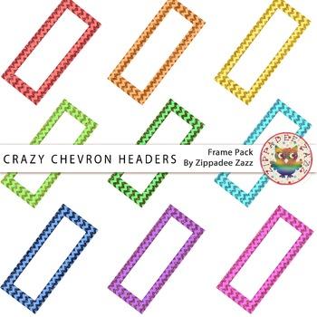 Digital Headers - Crazy Chevron Glitter Headers - 9 Header