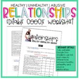 Digital- Healthy Vs Unhealthy Relationships Worksheet