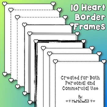 Digital Heart Border Frames {10 count}