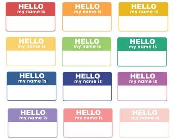 Digital Hello Name Tags Set #070