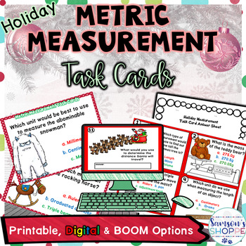 Holiday Metric Measurement Printable Digital and BOOM Task Cards