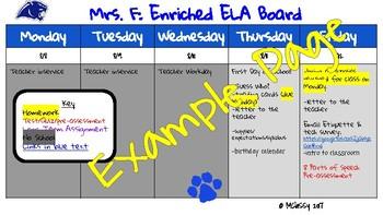 Template for Digital Homework Board (Google Slides)