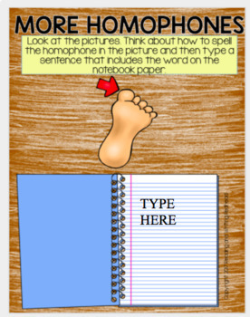 Digital Homophone Activities for Google Drive