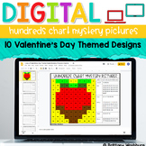 Digital Hundreds Chart Mystery Pictures   Valentine's Day Theme